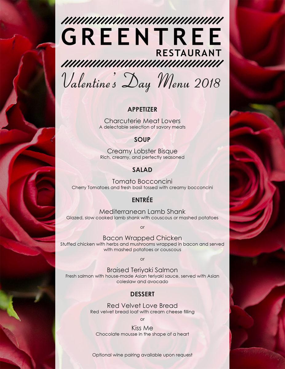 Valentine's Day Menu at Greentree Restaurant