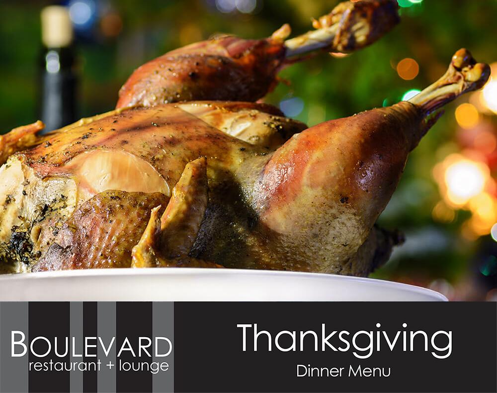 Thanksgiving Menu at Boulevard Restaurant