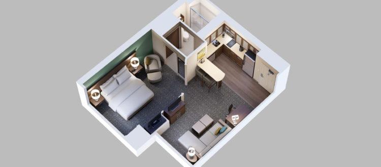 Staybridge Suites Hotel in Red Deer - 1 Bedroom King Suite Layout