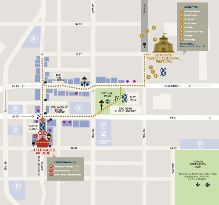 Map of Activities in downtown Red Deer during the Canada Winter Games