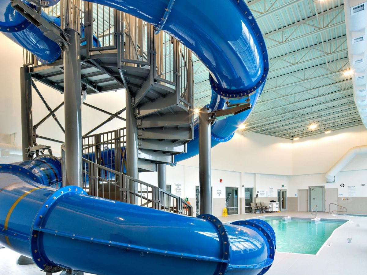Pool and Waterslide at Holiday Inn Express and Staybridge Suites Red Deer North